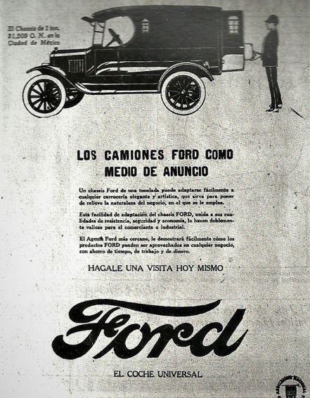 En el año 1922 el costo de un camión Ford Modelo T era de 1 200 pesos